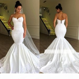 New Sexy Spaghetti Straps Mermaid Plus Size Wedding Dresses Backless Lace Applique Sweep Train Beach Bridal Gowns