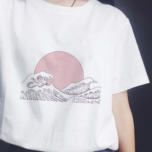 Japanese Style for T-shirts Over Sunset ZOGANKIN Women the Sea Harajuku White Tshirt Korean Tshirt Summer Tea Shirt Femme Tops