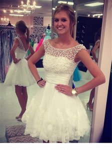 Chic A-line Scoop Capped Sleeves Short Mini Lace Homecoming Dress with Pearls Short Prom Dress Under 100
