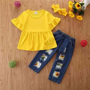 2-6T Kids Clothes Set Toddler Girls Outfit Summer Yellow T shirt Top+Hollow Jeans Children Clothing Set 3pcs