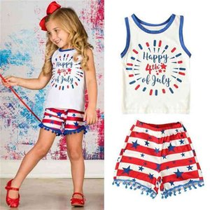 Baby Girls Summer American Independence Day Sleeveless Vest Cartoon Cute Top + Tassels Shorts Sets Two Piece Tracksuit Pajama Home Suit G47LXE9