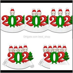 Decorations Festive Party Supplies Home Garden Drop Delivery 2021 Christmas Ornaments Pendant Pvc Snowman Mask Quarantine Decoration Hangings