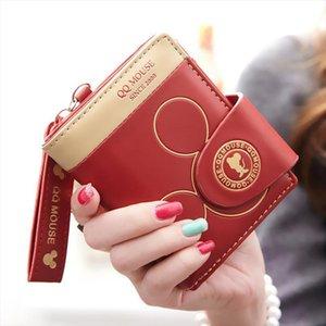 Portefeuille de dessin animé Femmes Porte-monnaie courte Sac à main Zipper HASP Coin de la souris mignonne Mouse Small for Girl Card Porte-cartes Carteira