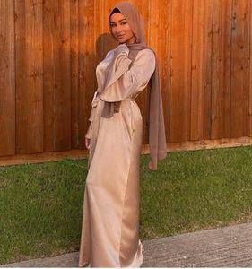 Ethnic Clothing Ramadan Eid Satin Hijab Dress Turkey Abaya Dubai Muslim Summer Maxi Flare Sleeve Dresses For Women Islam Kaftan Robe Musulma