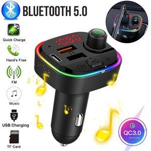 자동차 FM 송신기 Bluetooth 5.0 무선 자동차 키트 18W PD QC3.0 MP3 플레이어가있는 빠른 충전기 다채로운 RGB 백라이트 자동 충전