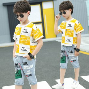 Kids Sets Clothing Boys Suit Child Outfits Summer Cotton Short Sleeve T-shirts Jeans Shorts 2Pcs Casual Big 4-12Y B4760