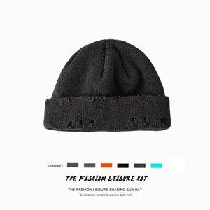 Ball Caps Winter Harajuku Beanies Knitted Hat Women Fashion Warm Men Hip Hop Hole Skullcap Short Unisex Basic Cap