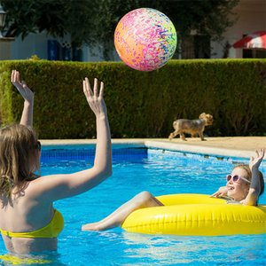 Funny Beach Swimming Pool Toys Ball for Teens and Adults Under Water 9 Inch Inflatable Float Balls with Hose Adapter 10pcs