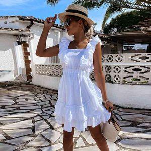 Casual Dresses Sweet Sleeveless Flower Pleats Halter Ruffles Dress Women High Waist Pure Color Fashion Sexy Dating Daily Summer 20