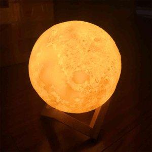 Moon Globe 3D печатает луна лампа сенсорное управление 2 цвета ночной свет творческий подарок семьи спальня украшения детей C0414