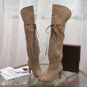 2021 Marca Botas de mujer Diseñador de cuero genuino Red Beige Lienzo Sobre la rodilla Bota Cordillo Cordillo Zapatos casuales Moda Tacón alto Mujer Zapatillas de lujo Tamaño grande 35-42