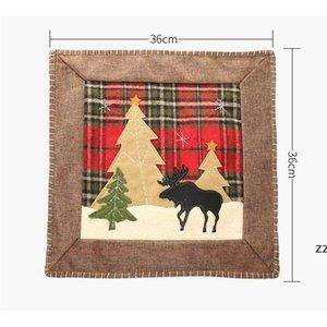 Christmas Throw Pillow Case Covers Buffalo Plaid Xmas Tree Reindeer Cushion Cases Home Sofa Decorations 36cm HWE9981