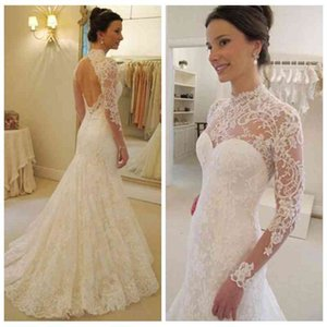 Vintage 2021 Soft Lace Slim Long Sleeves Mermaid Wedding Dresses Sexy Open Back Bridal Gowns Custom Online Vestidos De Soiree European