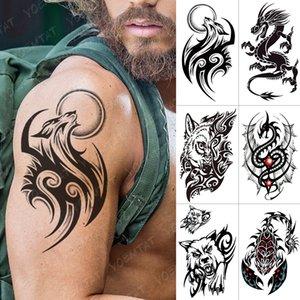 Водонепроницаемый временный стикер татуировки дракона скорпион волков флэш-татуировки крылья крест корпус арт рычага сова Maori Totem поддельные тату