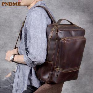 Backpack Simple Vintage Genuine Leather Men's High Quality Women's Daily Travel Work Laptop Bagpack Bookbag