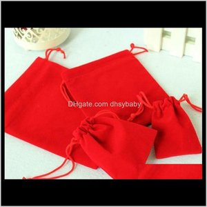 Other & Display Drop Delivery 2021 Mix Color 10X12Cm Red Veet Wedding Bag Dstring Jewelry Packaging Christmas Gift Pouch 100Pcs Lot Uy8Bv