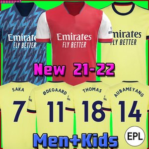 Arsen soccer jersey Fans Player version Gunners 21 22 ØDEGAARD PEPE SAKA THOMAS WILLIAN NICOLAS TIERNEY 2021 2022 football shirt Men + Kids kit away yellow fourth 4th