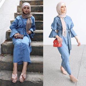 Denim Kaftan Dubai Abaya Kimono Müslüman Başörtüsü Elbise Abayas Kadınlar için Robe Kaftan Marocain Katar Türk Elbise İslam Giyim