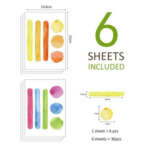 Wall Stickers 36pcs set Watercolor Bar Dots DIY For Kids Room Bedroom Decoration Nursery Office Art Decal Home Decor PA074