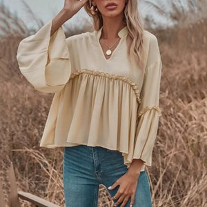 Women's Blouses & Shirts Solid Ruffle Long Sleeve Blouse Top V Neck Ruched Loose Fitted Shirt Casual Chiffon Jumper Tee Blusas De Mujer
