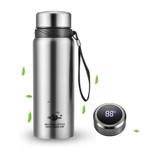 1500ml Large Capacity Stainless Steel Thermos Bottle Smart Temperature Display Vacuum Flask Travel Water Bottle Thermos Cup H0831