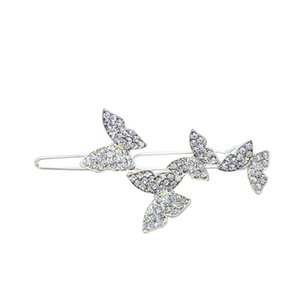 New style Rhinestone Butterfly hairpin headdress inlaid with diamond flash drill one word bangs broken hair side clip 770 Q2