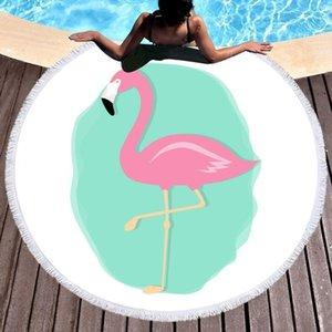 Wholesale- Tropical Leaves Microfiber Round Beach Towel Blanket 150cm Summer Camp Yoga Mat Swimming Bath Towel Living Room Home Decor