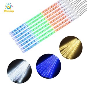 Shower Rain Tube String Lights 8 Tubes 30cm 50cm 80cm Meteor Showers Strip Light 110V-240V LED Garden Lighting For Holiday Decoration