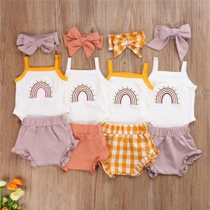 3Pcs Baby Girls Clothes Rainbow Suspender Jumpsuit Solid Color Shorts Pants With Headband Toddler Outfits Infant Girl Clothing Sets