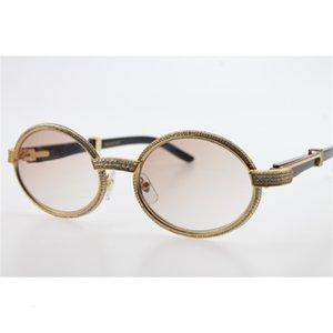 Óculos de sol femininos atacado quadro completo pedras menores 7550178 Black buffalo chifre redondo vintage unisex óculos marrom len cn8c
