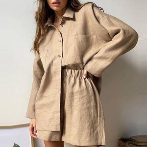 Women's Tracksuits Casual Solid Loose Short Sets Women Summer Long Sleeve Shirt Pajamas Pocket High Waist Shorts Two Piece Set Loung Wear Ou
