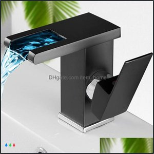 Bathroom Faucets, Showers As Home & Gardethroom Faucet Lavatory Temperature Color Changing Led Light Modern Mixer Tap Sink Faucets Drop Deli