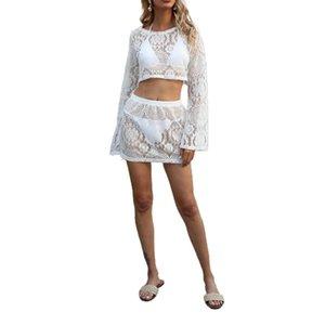 Sexy Women Swimwear Cover Up Sets Hollow Out Crochet Floral Crop Tops Skirt Bikini Bathing Suit Ups Summer 2021 Women's
