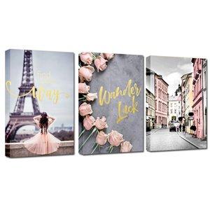 2021 Розовый Париж Девушка Ландшафтная Живопись Настенный Искусство, Спальня Гостиная Высокая четкости Печать Маслом Картина Повесить картинку