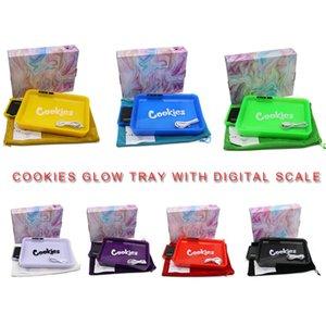 Biscotti Glow Vassoio con scala digitale 2in1 piastra di rotolamento ricaricabile dispositivo vape dispositivo variabile a led colorato rulli per erba secca tabacco