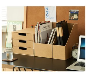 Kraft Paper Storage Box Book organizers Folder Office Desktop Stationery Standing Desk Shelf