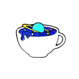 Pin Café Copa Constelación Amor Creativo Azul Lágrimas Libro Experimento Botella Aceite Caída Broche
