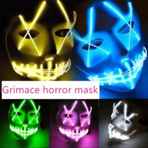 24 Hours Shipping Halloween Scary Ghost Masks Toy EL Wire Glowing Masquerade Full Face Mask Costumes Party Gift gyq