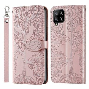 Emboss Tree Premium Leather Cases For Samsung A11 A21 A31 A41 A42 A52 A72 A02S A02 A21S A20S A10S A70 A20E Wallet Flip Folio Strap Stand Card Phone Cover