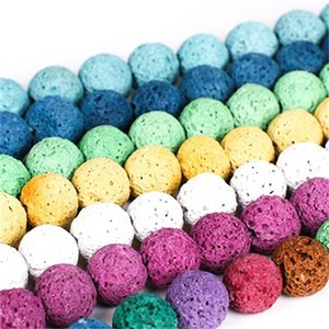 6 8 10mm Doğal Lava Taş Boncuk Mix Renkler Volkanik Kaya Yuvarlak Taş Gevşek Boncuk DIY Bilezik Kolye için Yarı Değerli Taşlar 1121 Q2