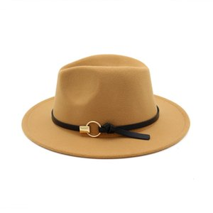 Wool Blend Fedora Panama Hat Fashion Women Lady Wool Wide Brim Casual Outdoor Jazz Cap with Leather Iron Band