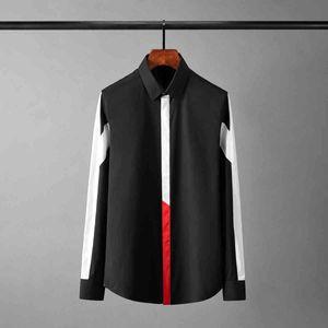 tee polo shirt shirt shirt Cotton Man Luxury Patchwork Design Long Sleeve Party Mens Fashion Slim Fit Casual Male Shirts 4xl