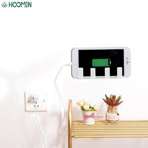 Toothbrush Holders 4 Hook Self-Adhesives Mobile Phone Bracket Wall Cell Charging Holder Rack Home Storage