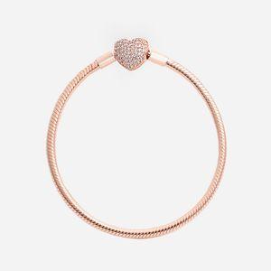 Luxury Fashion 18K Rose gold CZ diamond Heart Bracelets Original box for Pandora 925 Silver Smooth Snake Chain Bracelet dff0440