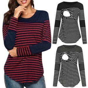 Maternity Tops & Tees TELOTUNY Women Blouse Long Sleeve Striped Nursing T-shirt For Breastfeeding Ladies Casual SPRING Shirt