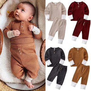 Baby Clothings set Solid Color Stripe pit Long Sleeve Sweatshirt + Pants 2PCS Set Pajamas Kids suits