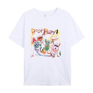 Huang Yi Fun Graffiti Printing Short-Sleeved T-shirt for Women 2021 Spring New Korean Style White Pullover Top T29649