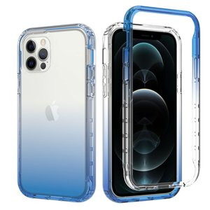 Colorful 2 In 1 Transparent Phone Cases For iPhone 12 11 Pro Max Back Cover