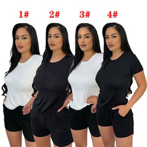 Women Tracksuits Letter Rhinestone Short Sleeve 2 Piece Sets T-shirts+Shorts Summer Crew Neck Jogging Suit Solid Color Casual Sportswear Pullover Clothing 5255
