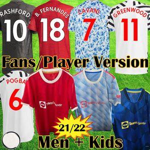 Manchester 2020 2021 United GREENWOOD BRUNO FERNANDES POGBA Vermelha unida Camisa de Futebol RASHFORD Crianças jerseys kit MAN Camisa de Futebol UTD 20 21 equipamentos